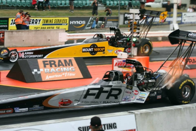 Reece Fish fireballed the Fish Family Racing dragster to a seven second pass, while Anthony Marsh recorded a 5.481 at 258.76 mph in the Mount Shop dragster. Photo by Fast-az Photos