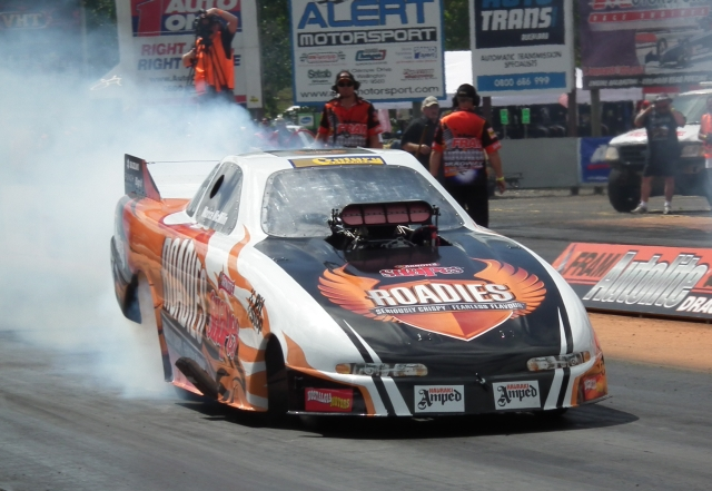 Qualifying in third position was the Arnotts Roadies funny car of Morice McMillin, with a 6.093 at 232.39.